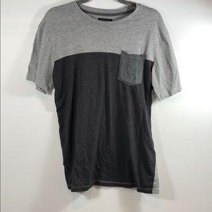 Zara Man Grey Color Block T-shirt Large